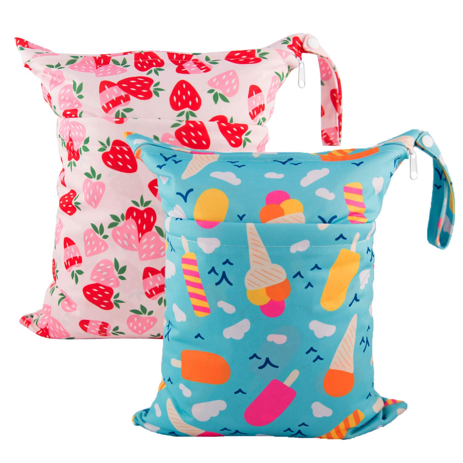 H02 GothYor Youngle Wet Dry Bag,Reusable Baby Diaper Organizer,With Two Zippered Pockets Travel Beach Pool Daycare Soiled Baby Items Yoga Gym Bag For Swimsuits Or Wet Clothes 3 Pack
