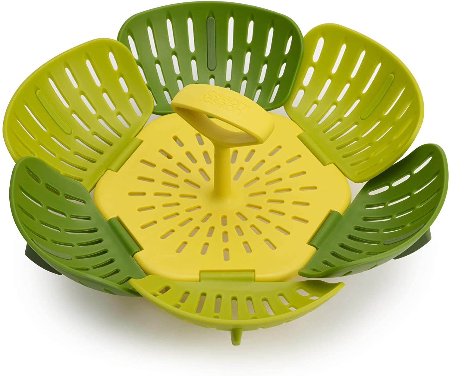 Joseph Joseph 45030 Bloom Steamer Basket Folding Non-Scratch BPA-Free Plastic and Silicone, Green