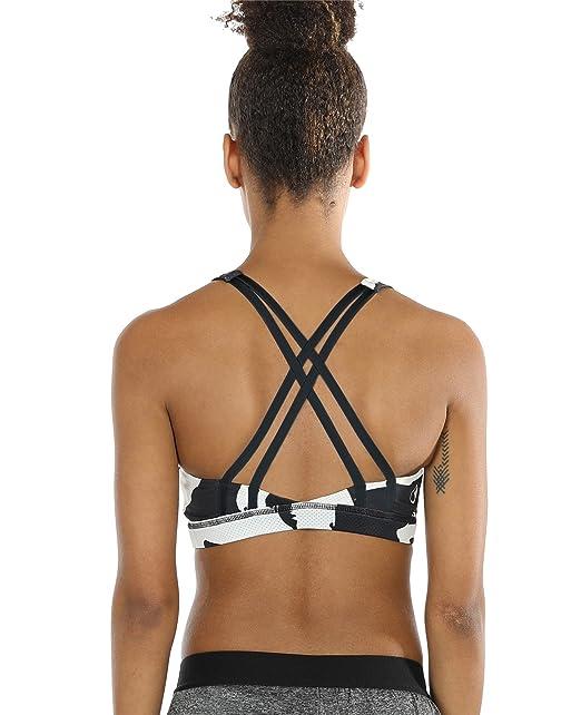 icyzone Sujetador Ejercicio Fitness Diseño de Tirantes Cruzados en la Espalda, Mujer (S,