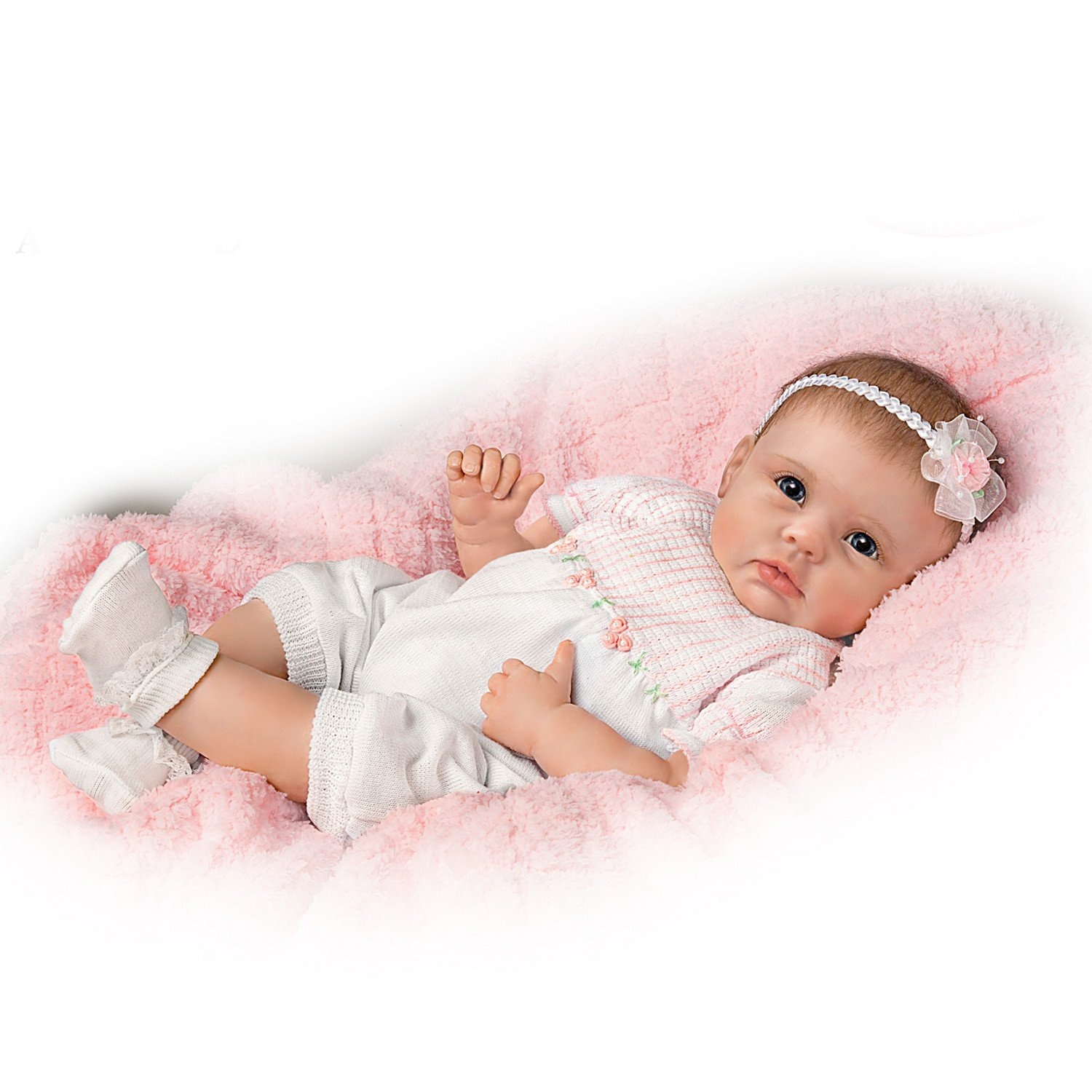 The Ashton - Drake Galleries Olivia's Gentle Touch Curls Her Hand Around Your Finger So Truly Real Lifelike, Interactive & Realistic Award-Winning Newborn Baby Doll 22-inches by The Ashton - Drake Galleries
