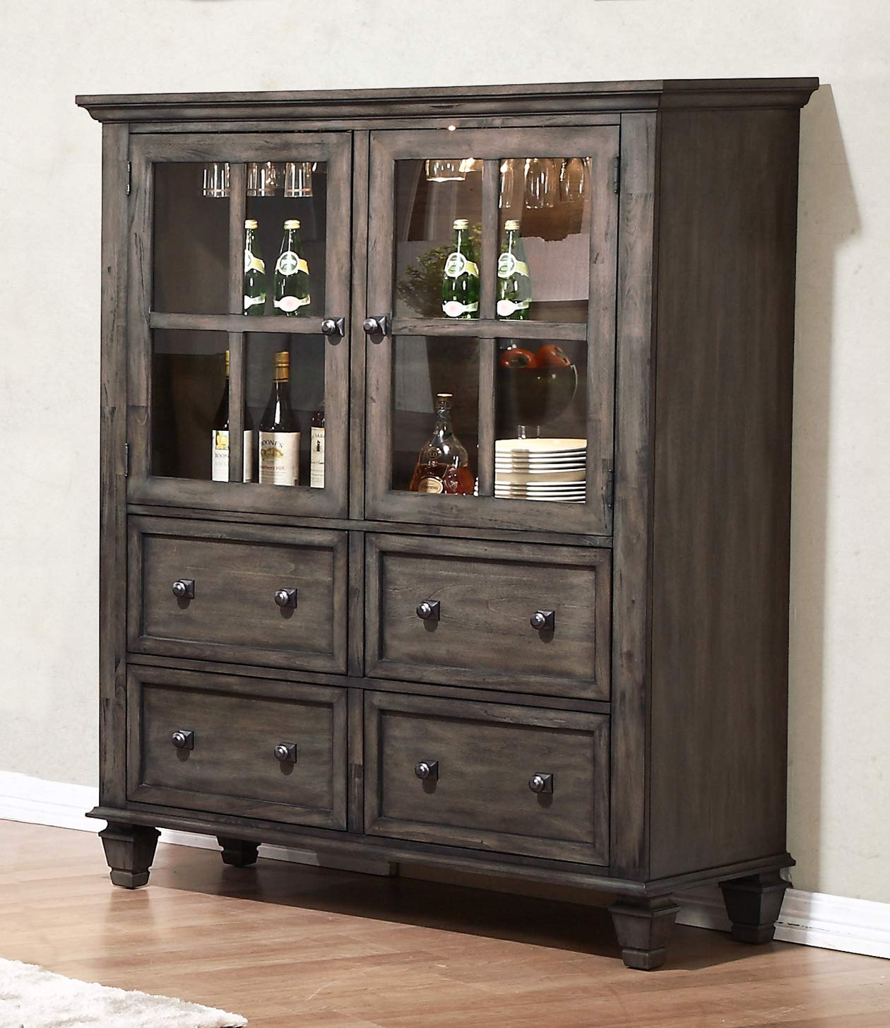 Sunset Trading DLU-EL-DS Shades of Gray China Cabinet, Weathered Grey by Sunset Trading (Image #1)