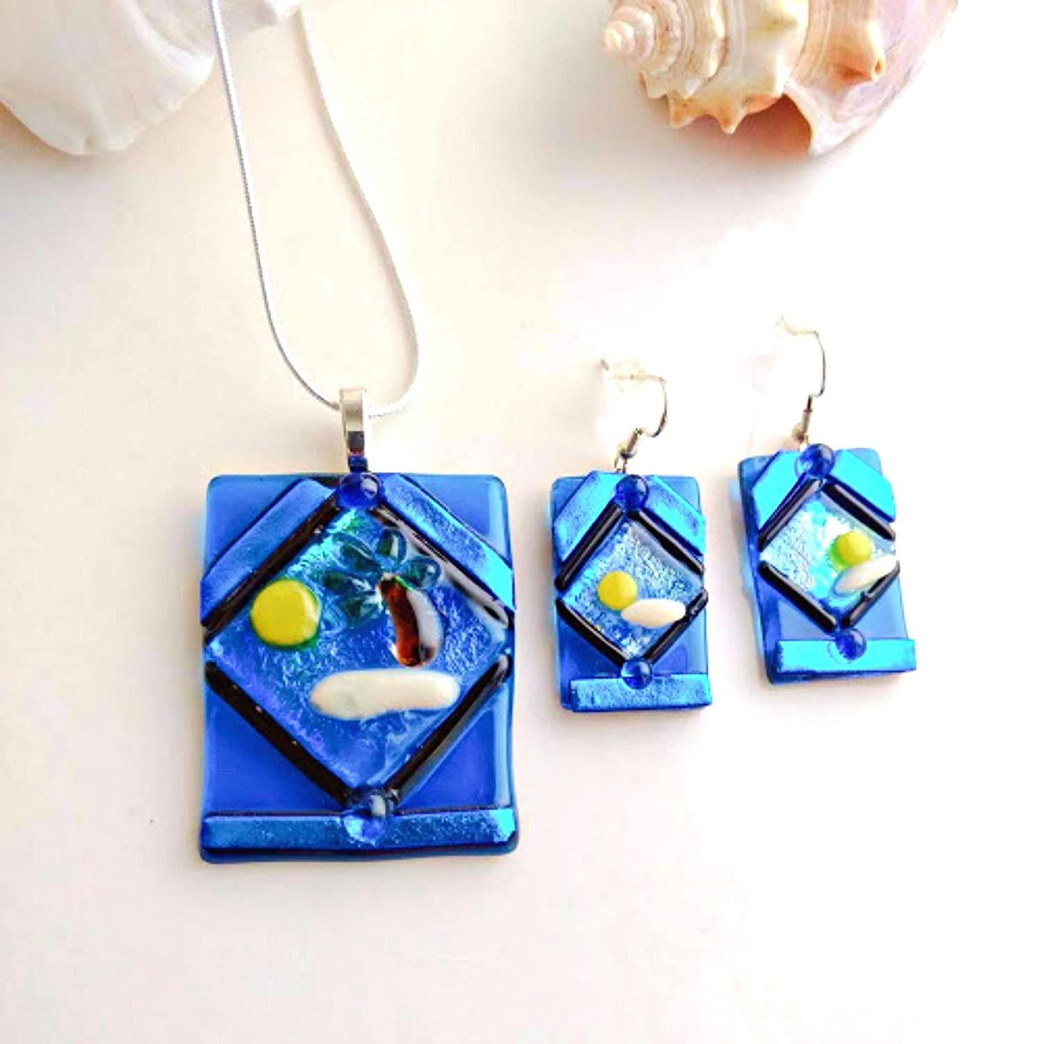 Gold Fused Glass Jewelry A2 Dichroic Glass Pendant Green Blue Necklace Necklace Included