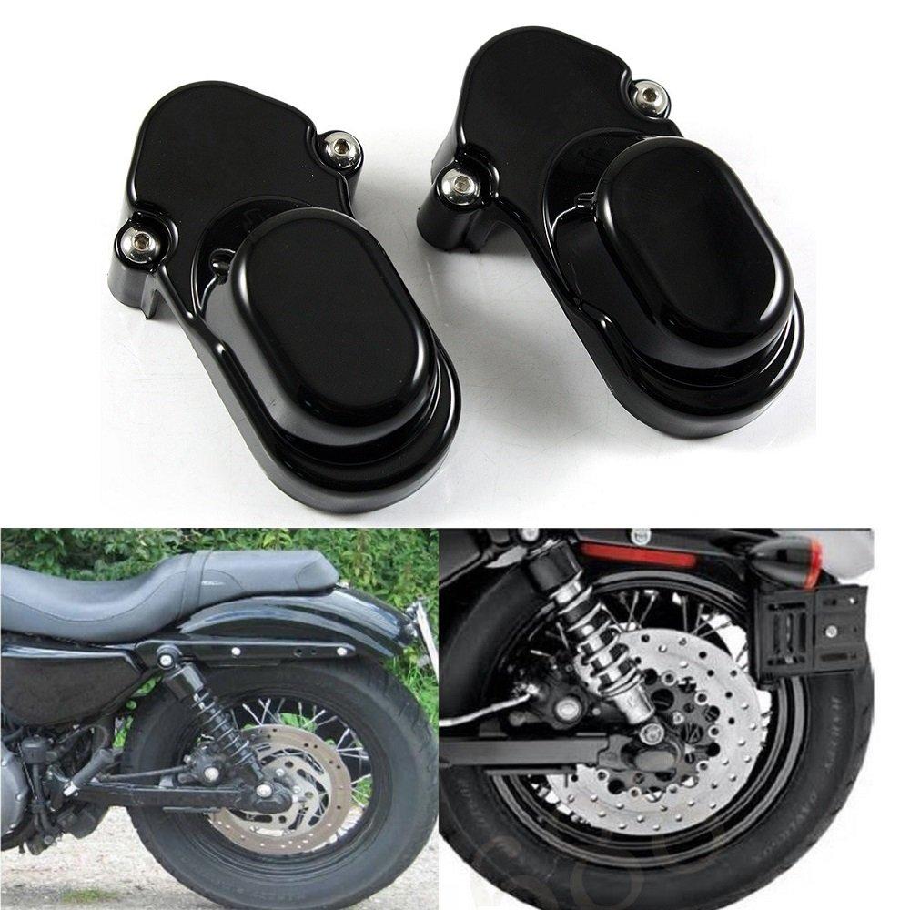 Black Rear Axle Nut Cover Bolt Cap Kit Fork Tube Cap For Harley Sportster XL 883 1200 48 2005-2015(Pack 2) by Motorgogo