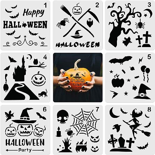 8 Stucke Halloween Schablone Vorlage Diy Dekorative Schablonen Kunststoff Zeichnung Malerei Schablone Vorlagen Fur Halloween Dekoration Diy Handwerk Amazon De Kuche Haushalt