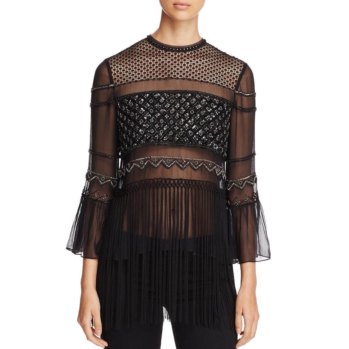 Elie Tahari Womens Aislin Silk Mixed Media Blouse Black XL
