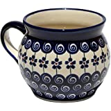 Polish Pottery Potbelly Coffee Mug 16 Oz. From Zaklady Ceramiczne Boleslawiec #910-1085a Pattern, Capacity: 16 Oz.