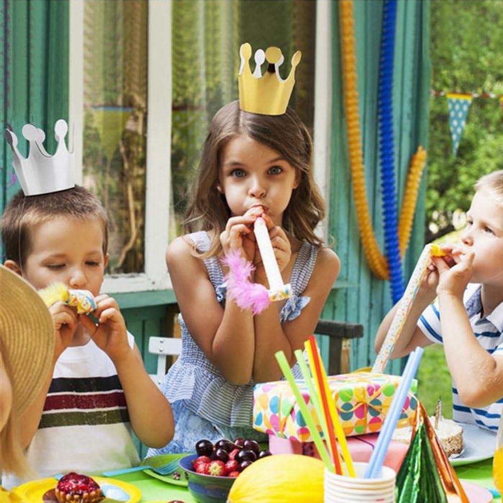 Ouceanwin 22Pcs Chapeaux de F/ête Anniversaire pour Enfants Chapeau de Couronne Joyeux Anniversaire et Chapeaux de C/ône de F/ête Color/és avec Pompons pour D/écoration de F/ête danniversaire