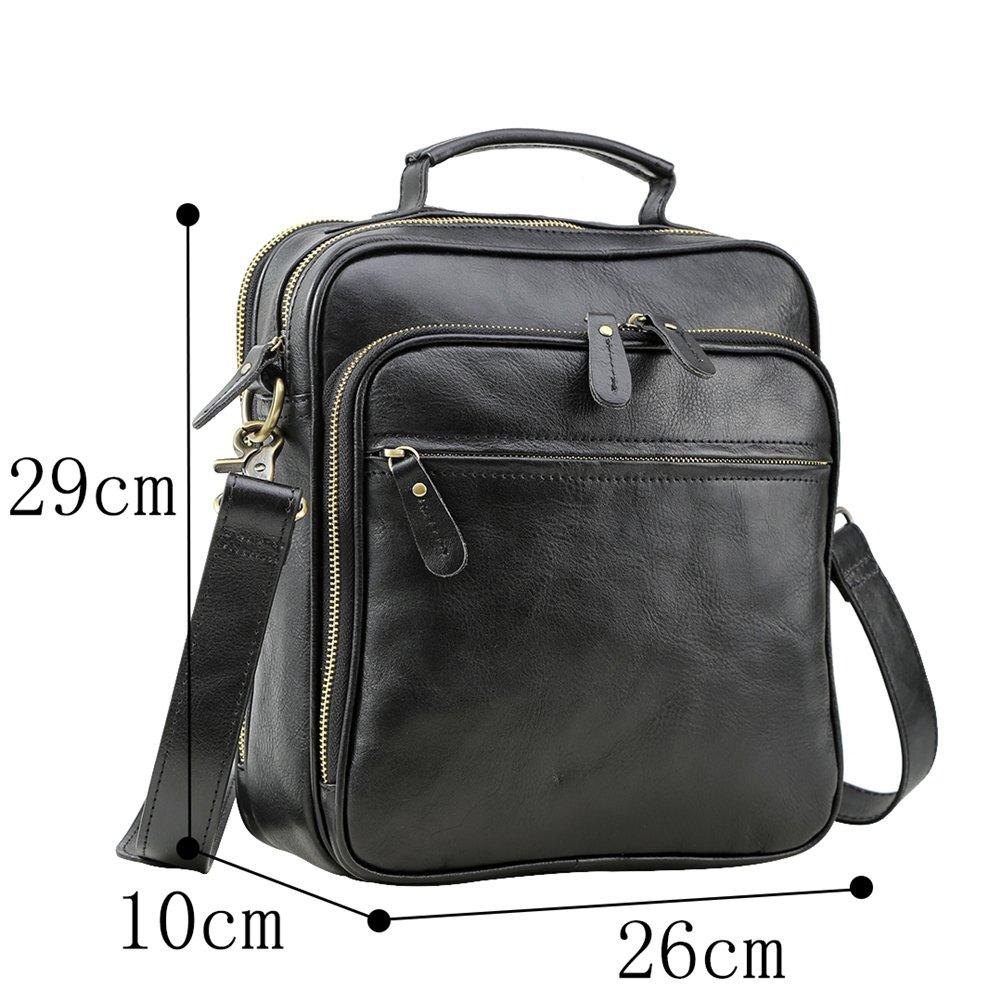 Genda 2Archer Men Leather Crossbody Shoulder Messenger Bags Small Briefcase Handbag