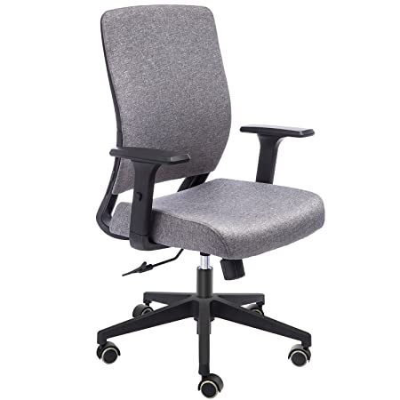 TOPSKY Mid-Back Ergonomic Fabric Office Chair with Adjustable 3D Arm and Lumbar Support Gray Fabric