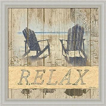 Amazon.com: Relax Dee Dee Weathered Wood Beach Chairs Framed Art ...