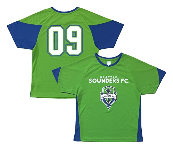 low cost ed47d ced68 Outerstuff Seattle Sounders #09 Green Youth Word Mark Primary Logo Player  Jersey