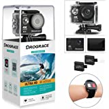 DROGRACE WP350 Action Camera 4K Ultra HD Waterproof Underwater Helmet Camera 170°Wide Angle 6G Lens 16MP 2.4G Remote Control 2 Batteries Fres Accessories Kits for Youtube and Live Stream