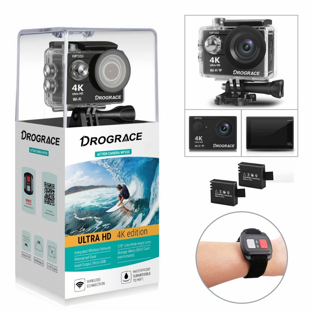 Action Camera 4K Sports Camera 12MP Ultra HD Wifi Waterproof Underwater Video Camera Helmet Cameras Camcorder 170° Wide View Angle 2 Inch LCD Screen Remote Control and Free Accessories [DROGRACE]
