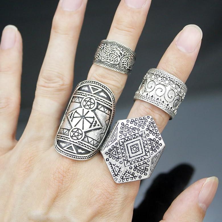 rechicgu Pack 4 Hombres Vintage plata tribal puntas de triángulo ...