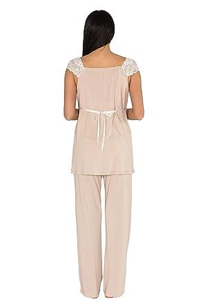 Bondy Maternity Pajamas 3-Piece Pajama Set with Pants and Robe at Amazon  Women s Clothing store  3bbc463ea