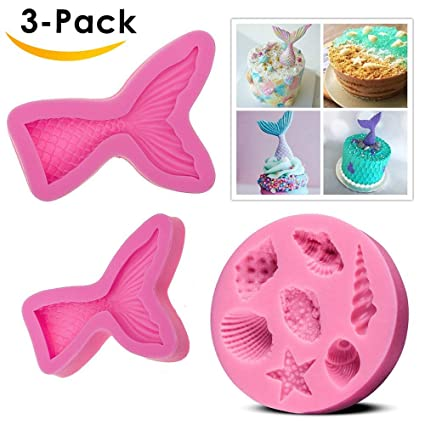 2 Pack Mermaid Tail Silicone Fondant Mold Seashell Mold for Cake Decoration Candy Chocolate Mold Soap Mold Cupcake Topper Mermaid Series Mold