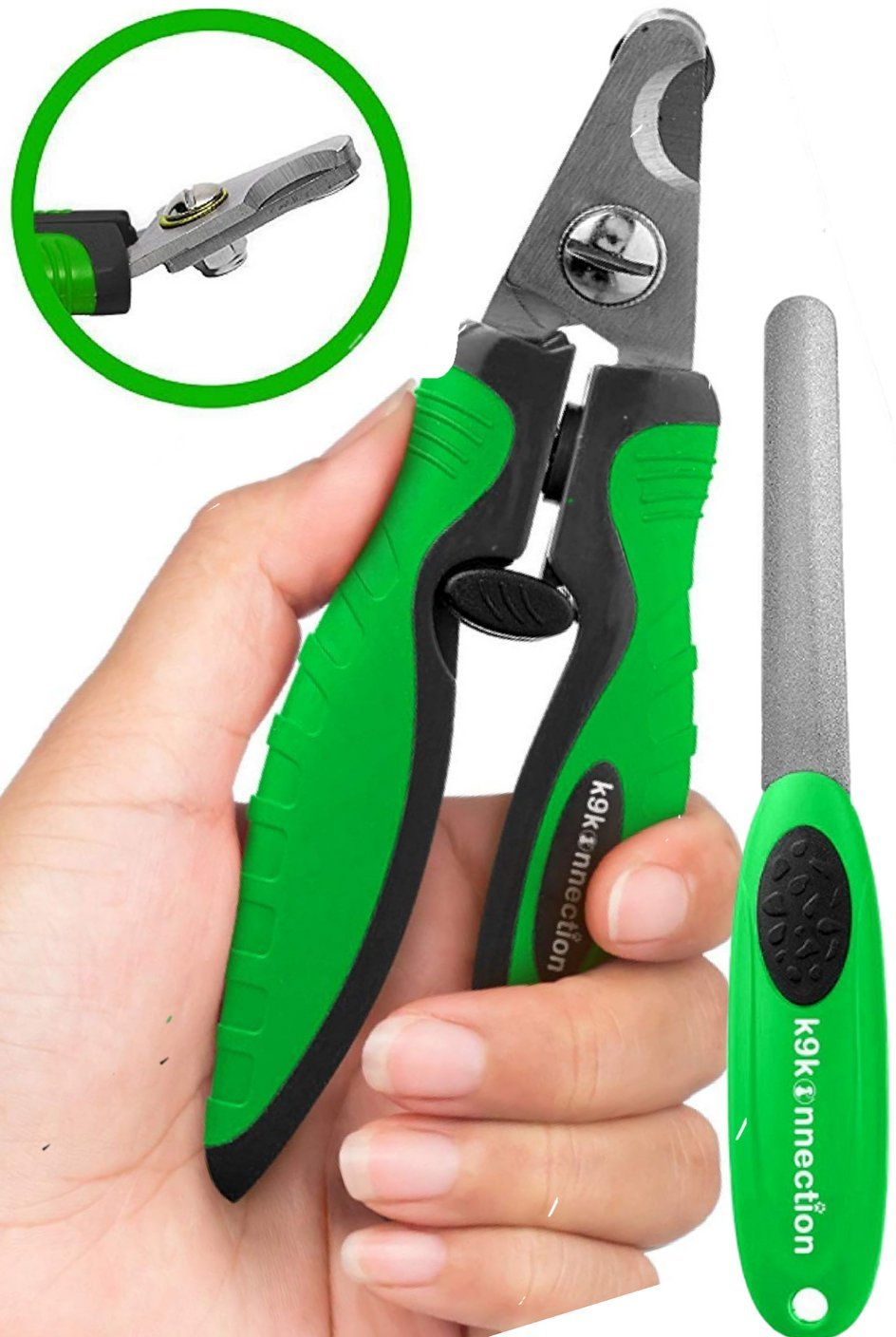 K9KONNECTION Dog Nail Clippers - With Quick Sensor & BONUS File - Professional Trimmers for Large, Small & Medium Breed Dogs - Safety Guard to Avoid Over Cutting Nails - Angled Sharp Blades