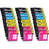 Pack 24 Brother LC-1100 , LC-980 , LC-985 Cartouches Compatibles. 6 noir, 6 cyan, 6 magenta, 6 jaune compatible avec Brother DCP-145C, DCP-163C, DCP-165C, DCP-167C, DCP-185C, DCP-195C, DCP-197C, DCP-365CN, DCP-373CW, DCP-375CW, DCP-377CW, DCP-383C, DCP-385C, DCP-387C, DCP-395CN, DCP-585CW, DCP-6690CW, DCP-J125, DCP-J140W, DCP-J315W, DCP-J515W, DCP-J715W, MFC-250C, MFC-255CW, MFC-257CW, MFC-290C, MFC-295CN, MFC-297C, MFC-490CW, MFC-5490CN, MFC-5890CN, MFC-5895CW, MFC-6490CW, MFC-6890CDW, MFC-790CW, MFC-795CW, MFC-990CW, MFC-J220, MFC-J265W, MFC-J410, MFC-J415W, MFC-J615W, MFC-J615W.Cartouches Compatibles. JET D ENCRE imprimantes. LC-1100BK , LC-1100C , LC-1100M , LC-1100Y , LC-980BK , LC-980C , LC-980M , LC-980Y , LC-985BK , LC-985C , LC-985M , LC-985Y © Encre Choix