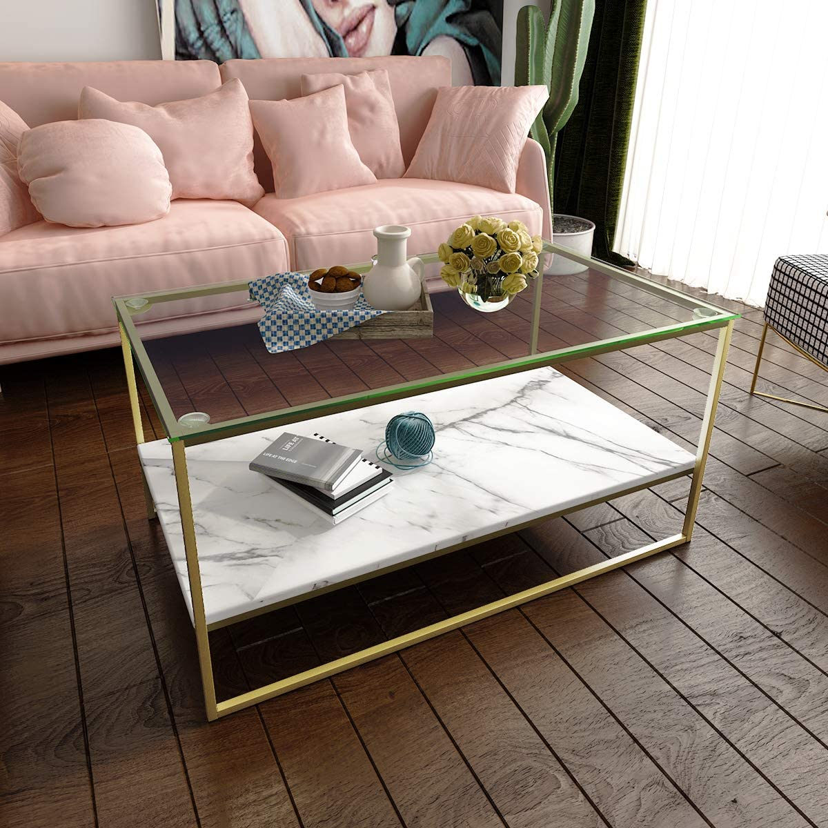 Amazon Com Tilly Lin Faux Marble Coffee Table Glass Top Coffee Table Cocktail Table With Gold Metal Legs Kitchen Dining