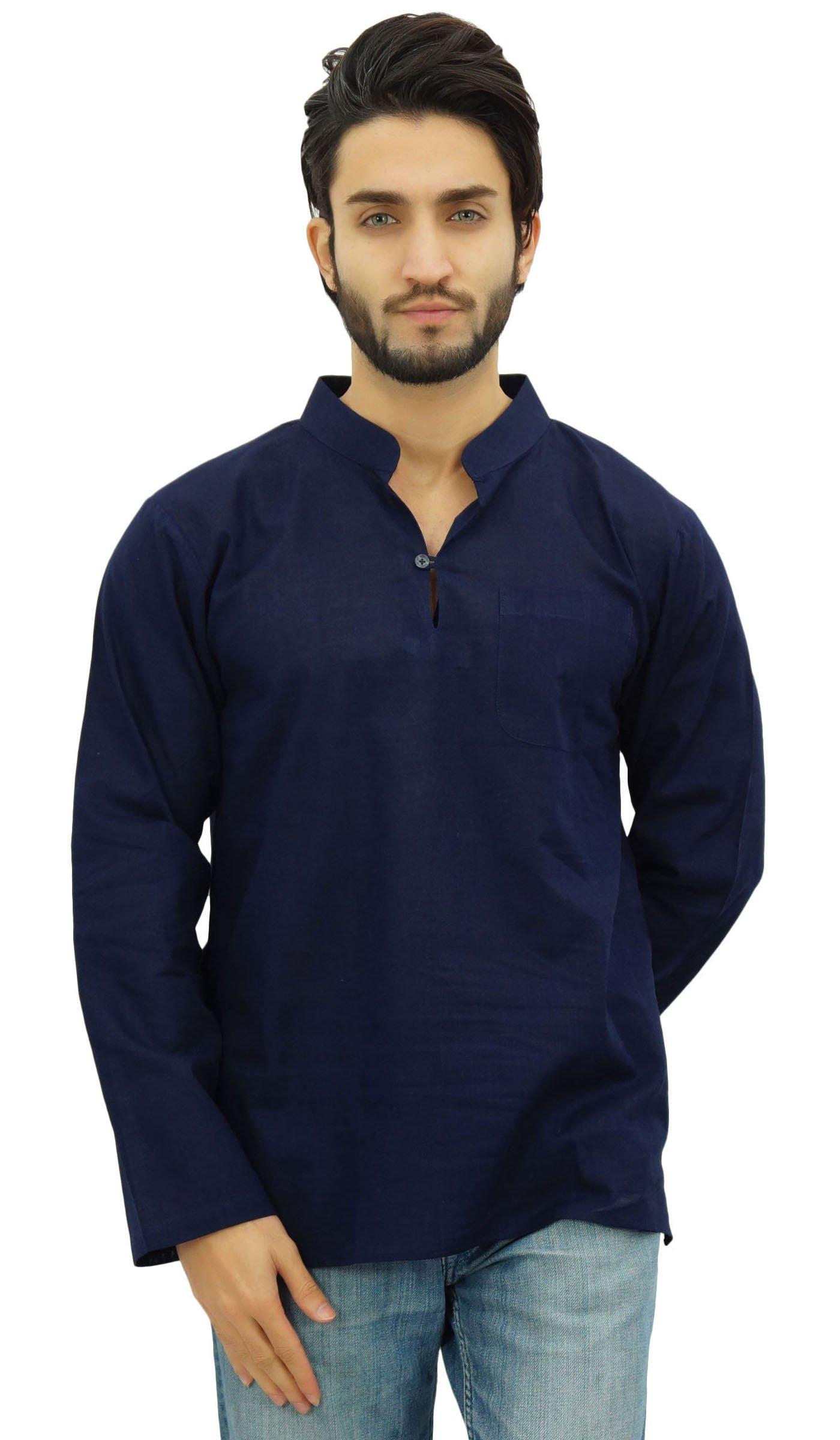 Atasi Men's Band Collar Blue Short Kurta Cotton Casual Tunic Shirt-X-Large