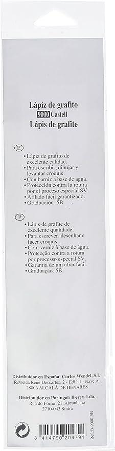 Faber-Castell B-9000-5B - Blíster con 1 lápiz de grafito Castell 9000, graduación 5B: Amazon.es: Oficina y papelería