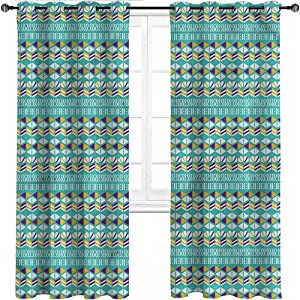 HouseLookHome Kitchen Curtains Geometric Children Bedroom Curtains Mix Triangles Ovals Home/Office Artistic Décor 2 Grommet Top Curtain Panels, 52