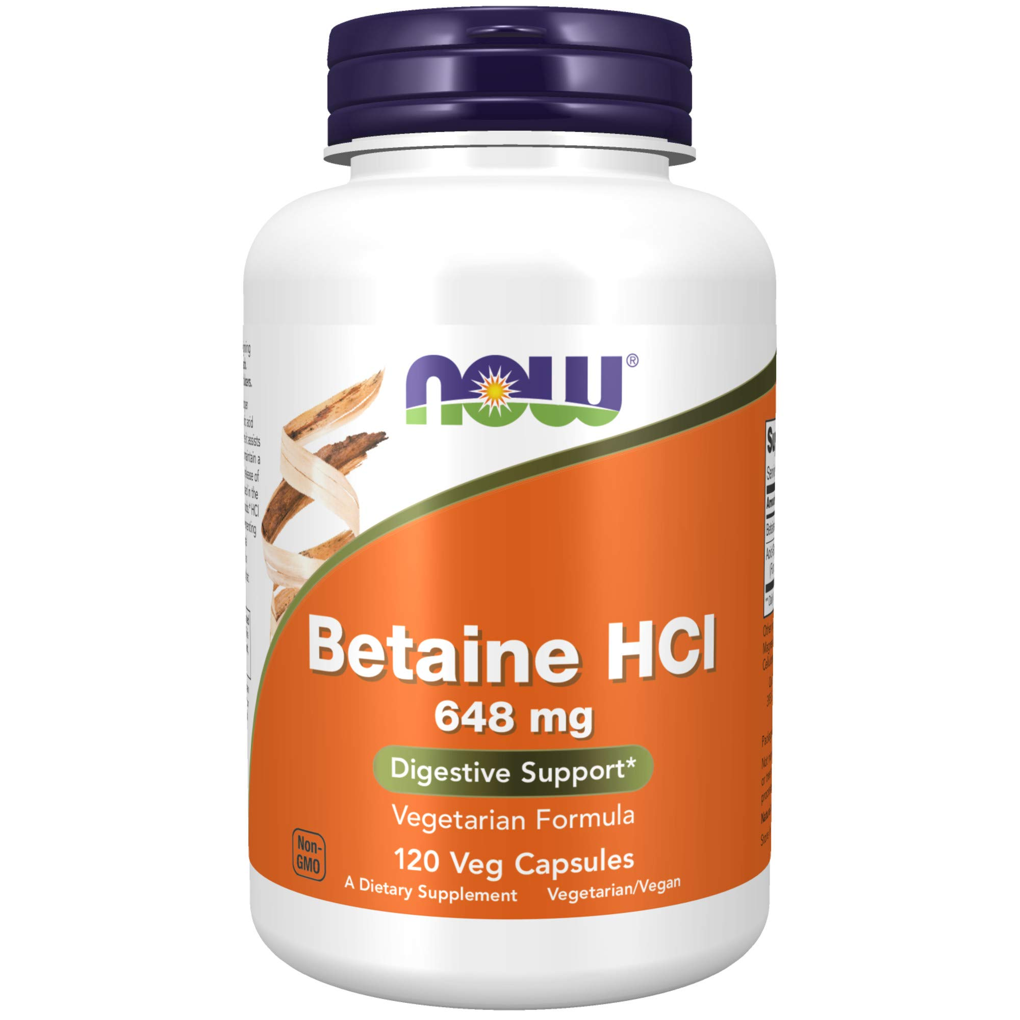 Now Foods Supplements, Betaine HCl 648 mg, Vegetarian Formula, Digestive Support, 120 Veg Capsules, 4.2329 Ounce