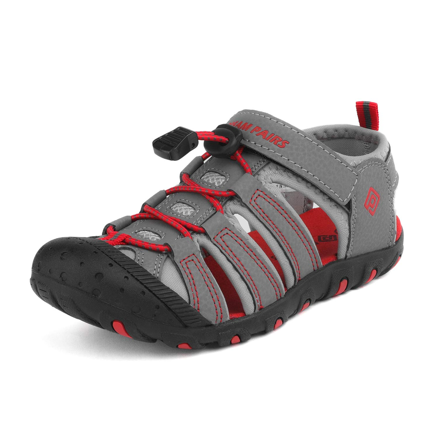 DREAM PAIRS Boys Big Kid 181105K Grey Light Grey Red Athletic Outdoor Summer Sandals Size 5 M US Big Kid