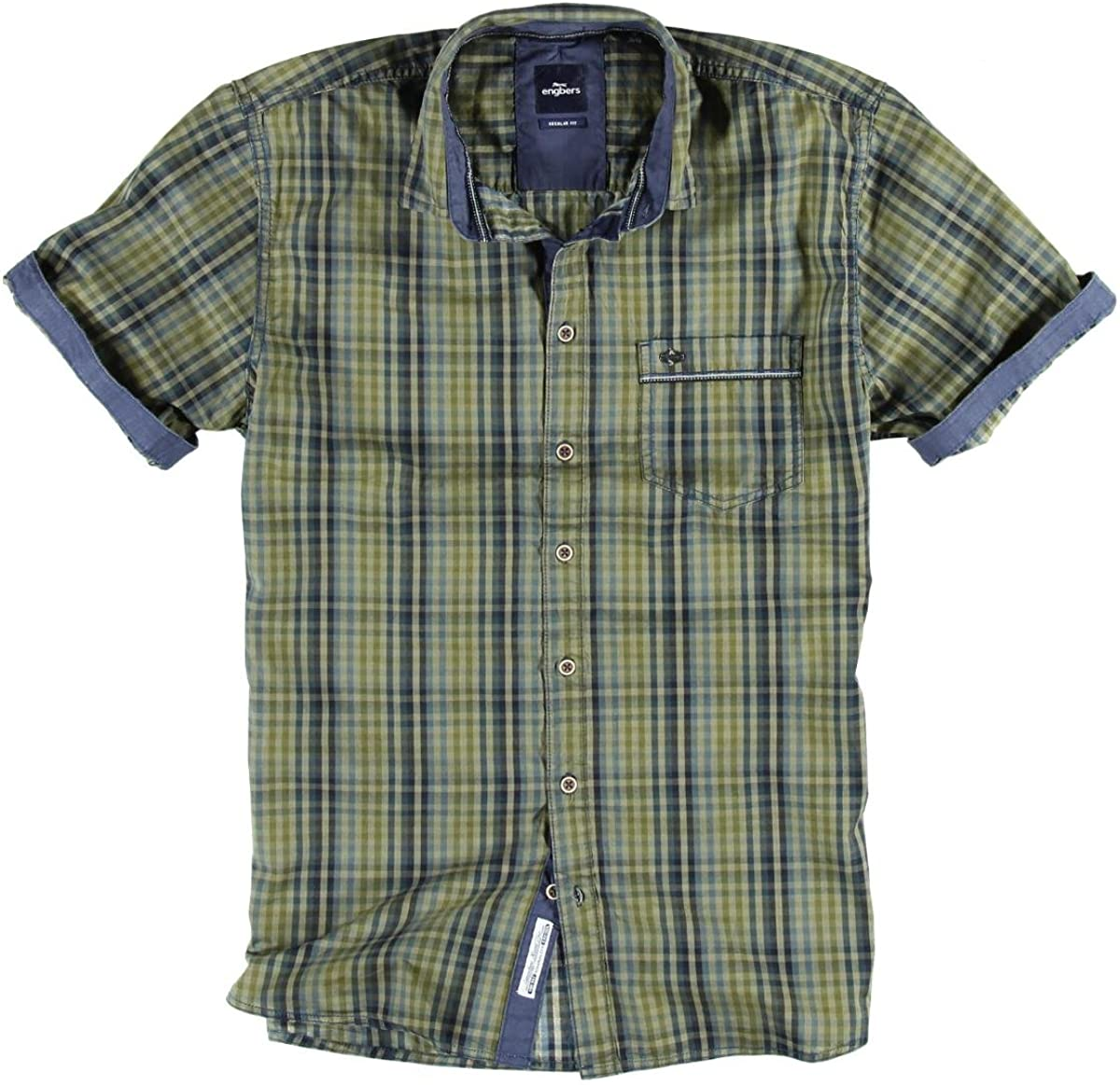 engbers Hombre Camisa Cuadros, Caravana, color verde ...