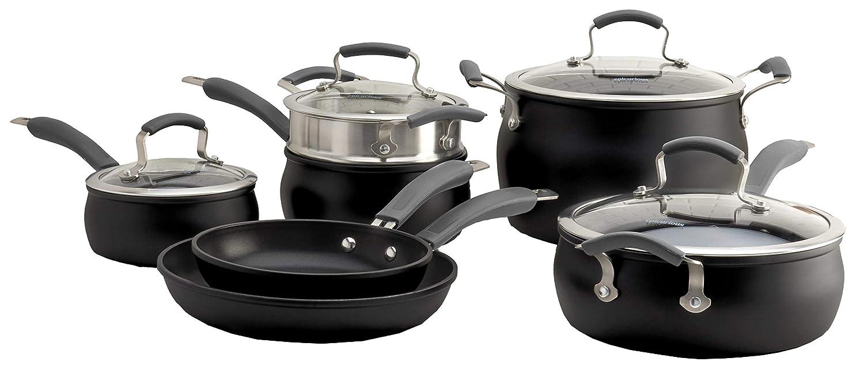Epicurious Cookware Collection- Dishwasher Safe Oven Safe, Nonstick Aluminum 11 Piece Ebony Matte Black Cookware Set