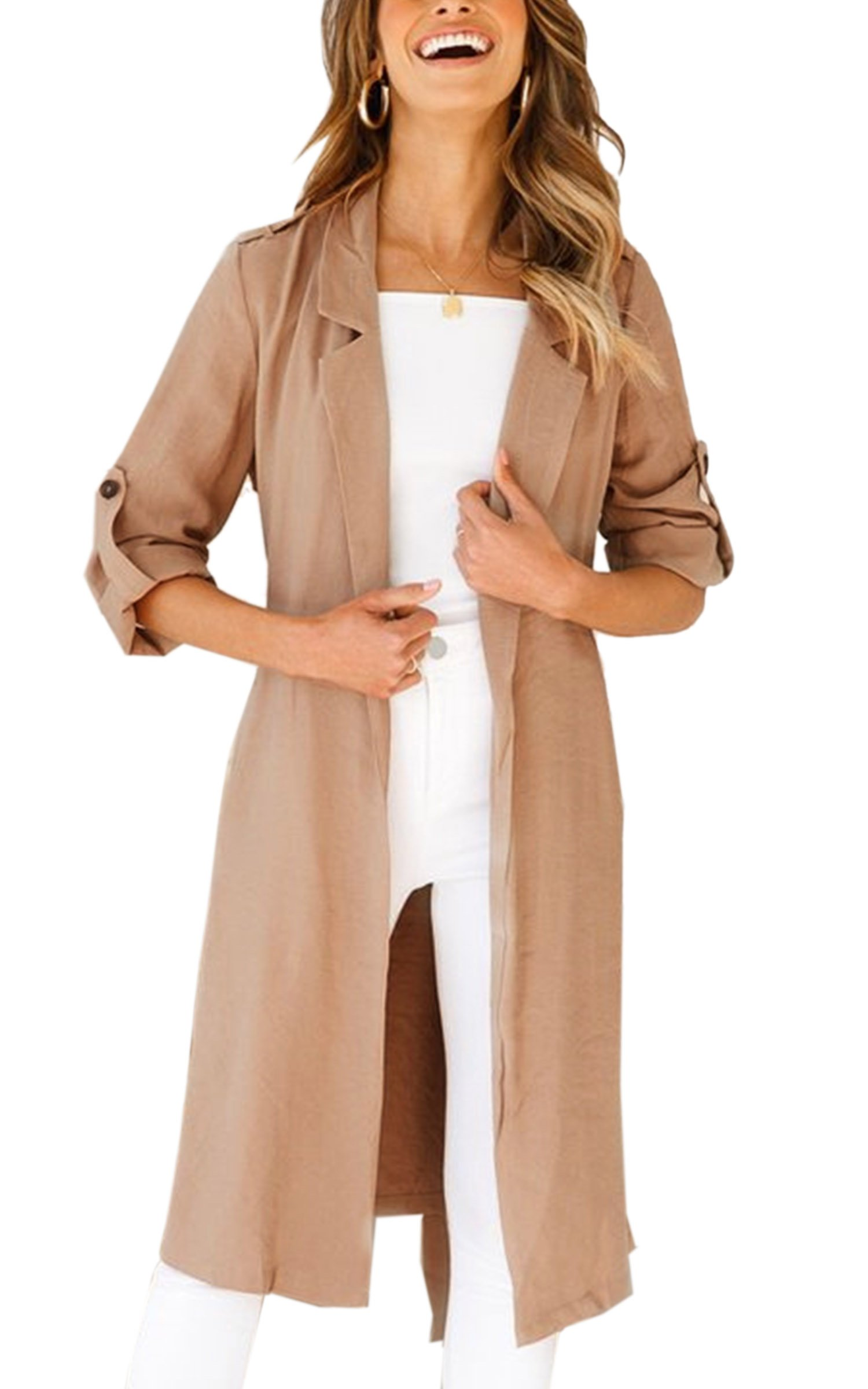 Angashion Women's Lapel Long Roll-up Sleeves Open Front Lapel Long Cardiagn Trench Coat Tops with Pockets Khaki M