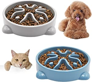 Vannon Slow Feeder Dog Bowls Anti-Choking Non Toxic Feeding Dish 2pack Non Slip Durable Dog Puzzle Bowl Bloat Stop Dog Food Bowl for Puppies Small Dogs