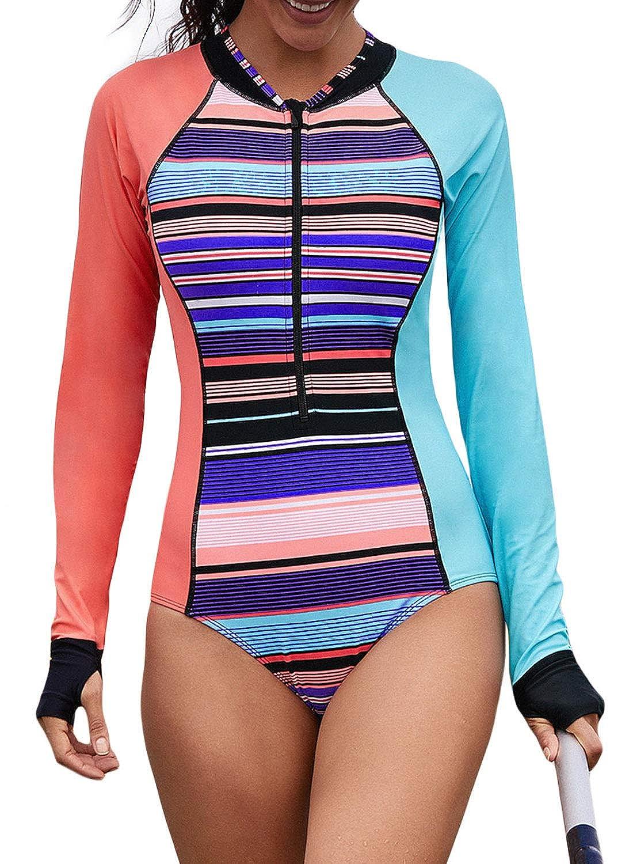 Lovezesent Womens Long Sleeve Colorblock Zip Front One Piece Rashguard Swimsuit ZST410960
