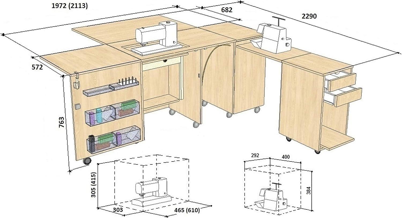 Comfort 4 | Mueble para máquina de coser | (Beech Ellmau, L (Air-Lifter 15kg)): Amazon.es: Hogar