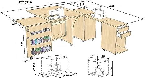 Comfort 4 | Mueble para máquina de coser | (Lakeland Acacia Light ...