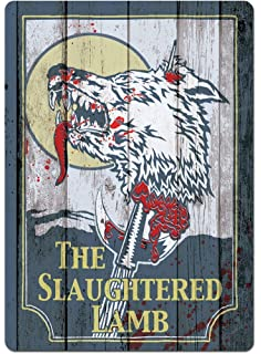 The Slaughtered Lamb wood effect American Werewolf Inspired metal Bar Sign