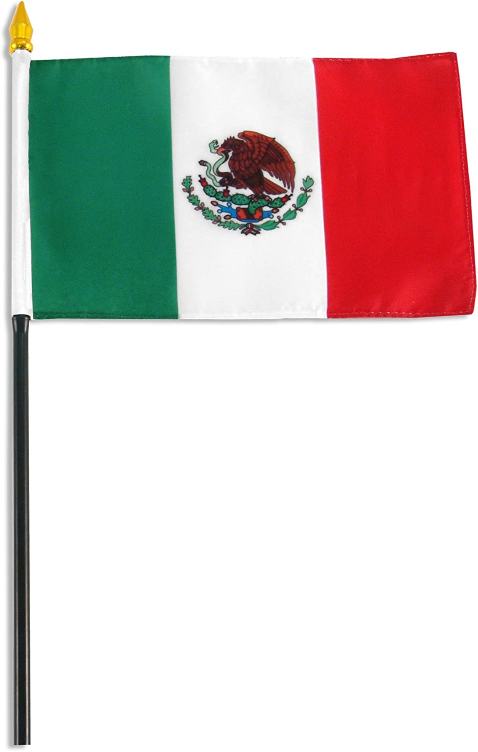 """Mexico Table Flag 4/"""" x 6/"""" with 8/"""" Black Plastic Pole FREE SHIPPING"""
