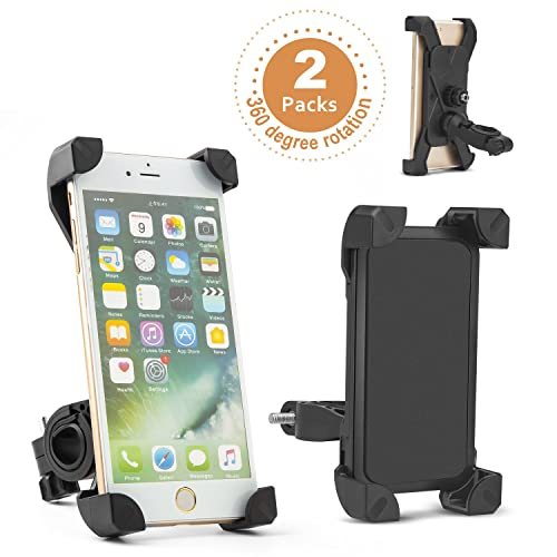 Bike Phone Holder(2 packs)+2 free waterproof pouches+2 free elastic rubber straps+1 free cool headwear;MAIS OUI Universal Bicycle Holder,Universal Mountain and Road Bicycle Handlebar Cradle Holder, 360º Rotatable bicycle phone mount