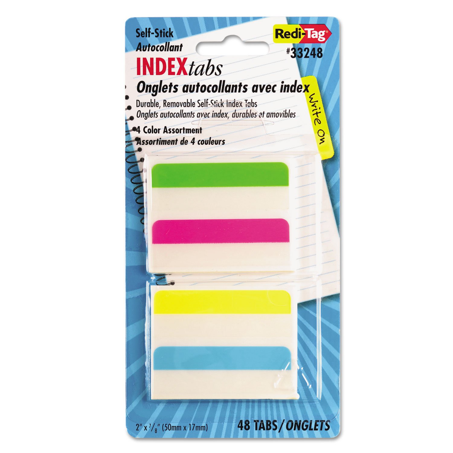 Redi-Tag 33248 Write-On Self-Stick Index Tabs 2 x 11/16 4 Colors 48/Pack REDI TAG