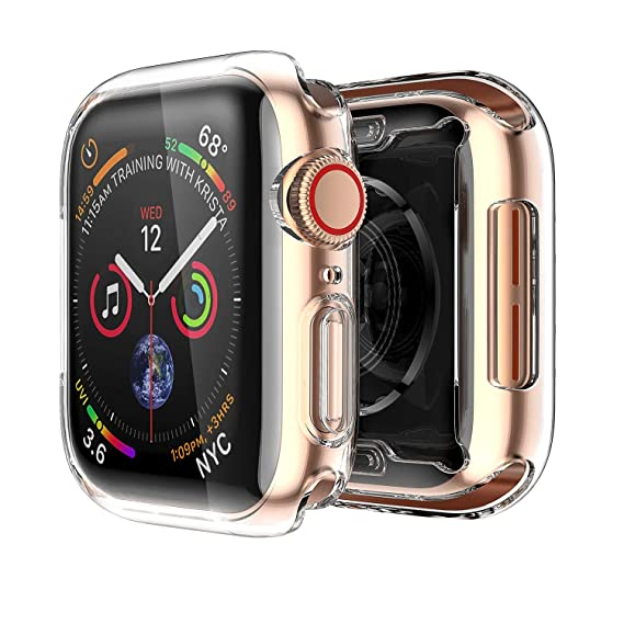 Compatible with Apple Watch Case 4, Full Coverage Soft TPU 360° Around All-in-One Screen Protector Shockproof Protective Slim HD Bumper Cover for ...