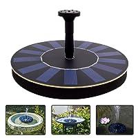 LATITOP Solar Pump, 1.4W Free Standing Floating Solar Water Fountain for Garden, Bird Bath, Small Pond