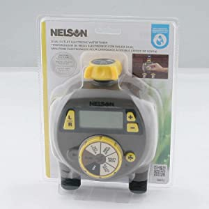 Nelson 56612 Dual Outlet Electric Water Timer with Large LCD Display, Multi