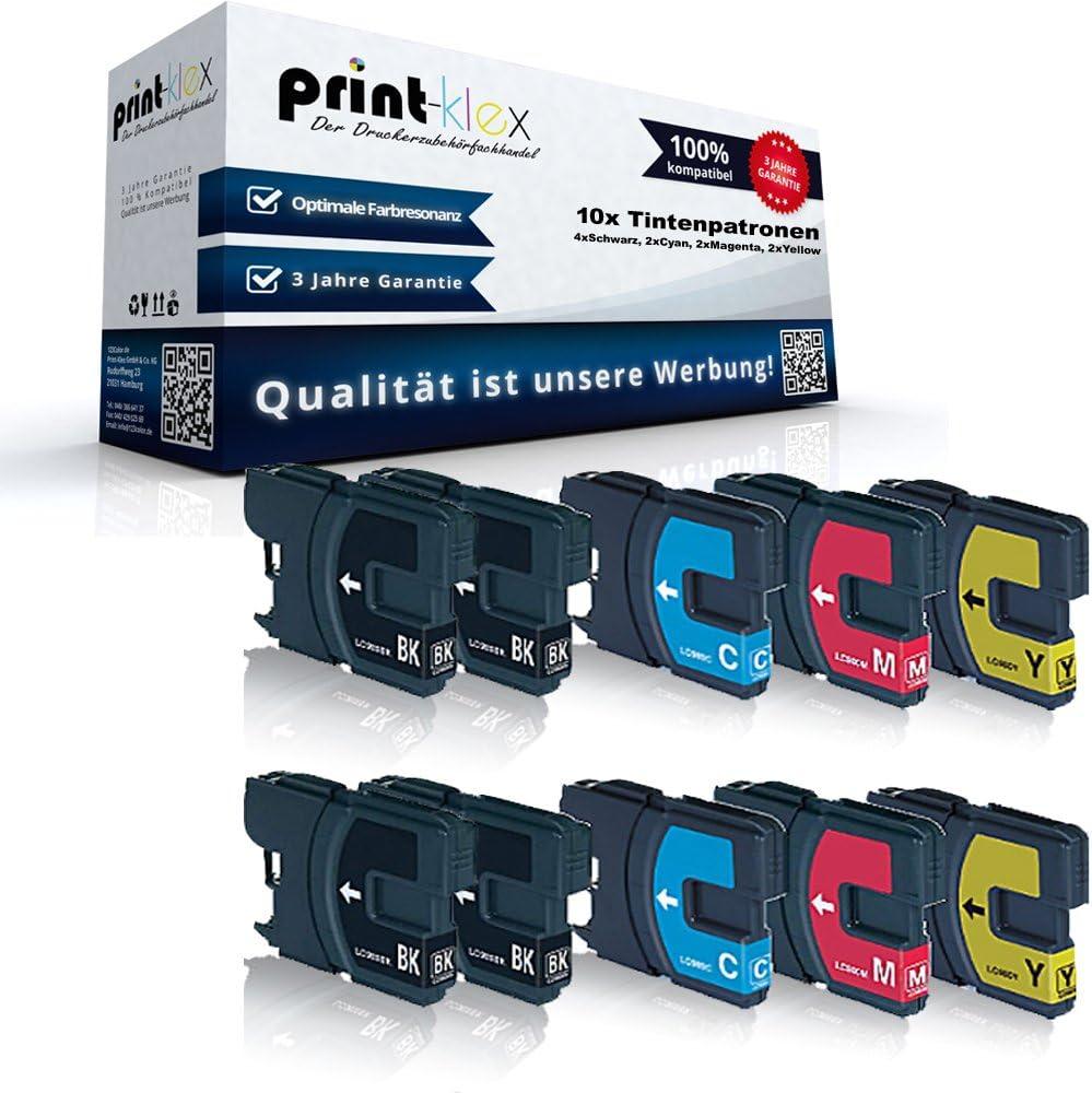 10x Print Klex Tintenpatronen Kompatibel Für Brother Mfc 290 Series 295 Cn 297 C Lc 980 Lc980 Lc980bk Lc980c Lc980m Lc980y Xxl 4x Schwarz 2x Blau 2x Rot 2x Gelb Color Line Serie Amazon De