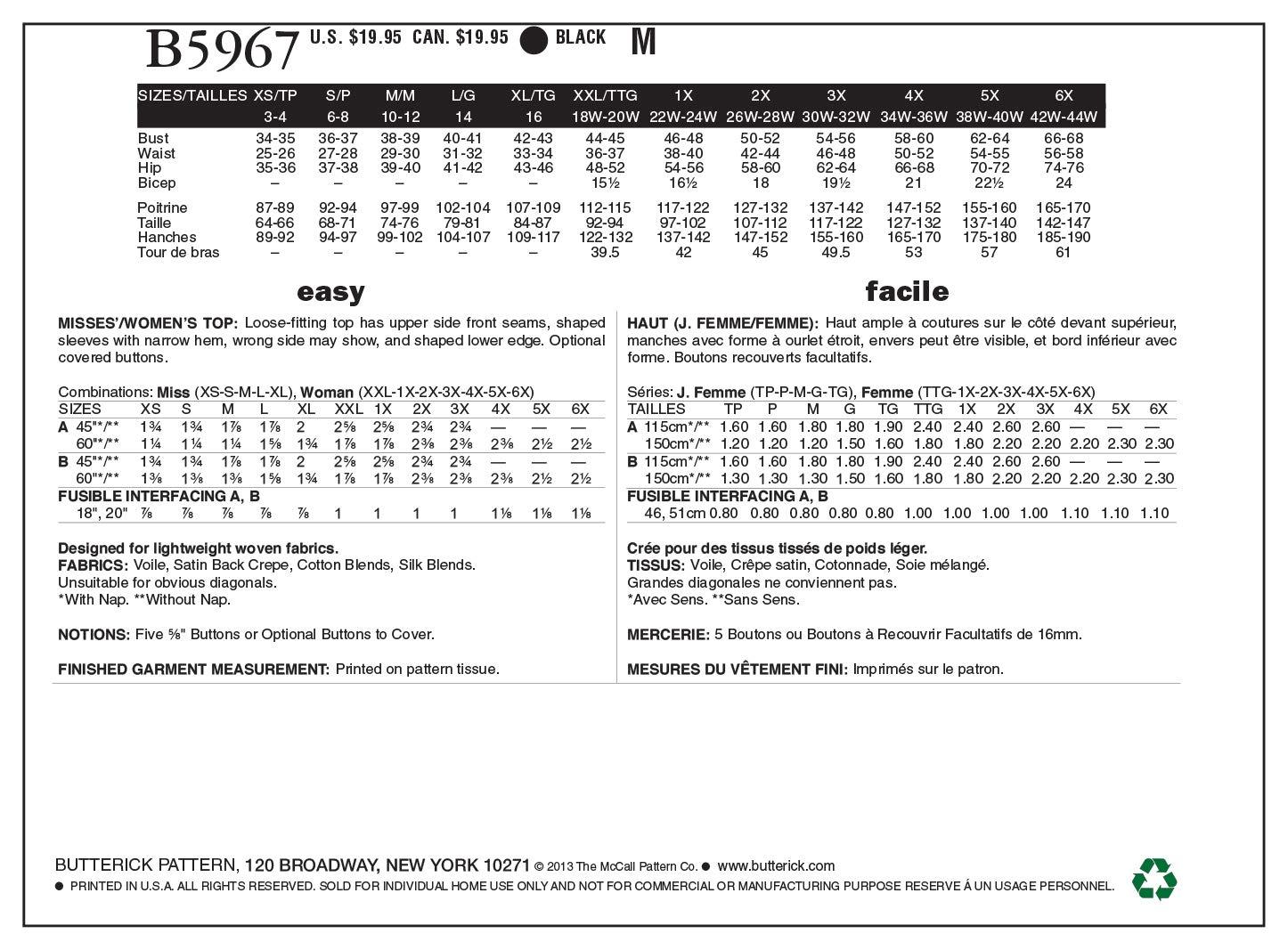 Butterick Patterns B5967 - Patrones de costura de blusas para mujer ...