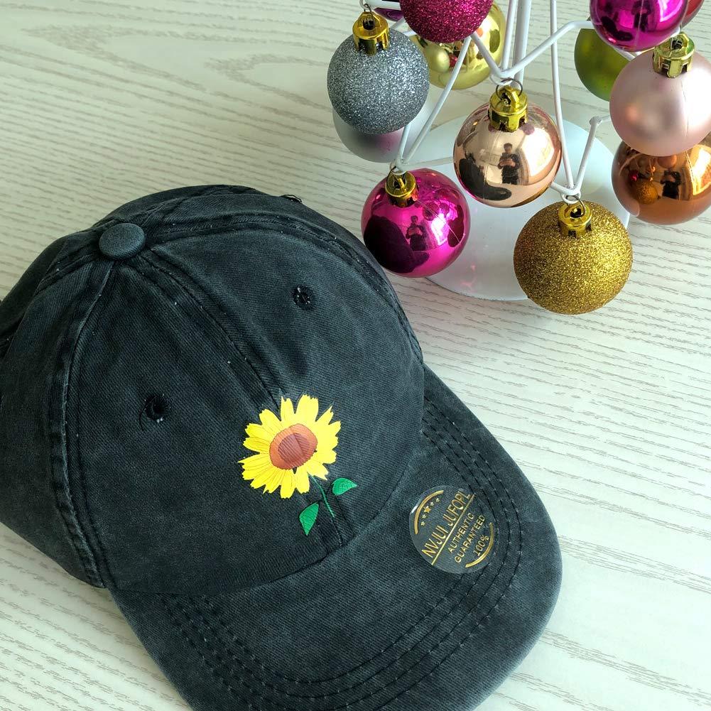 58e5b44b Amazon.com: NVJUI JUFOPL Sunflower Clipart Baseball Cap Adjustable Unisex  Camping Hat Black: Clothing