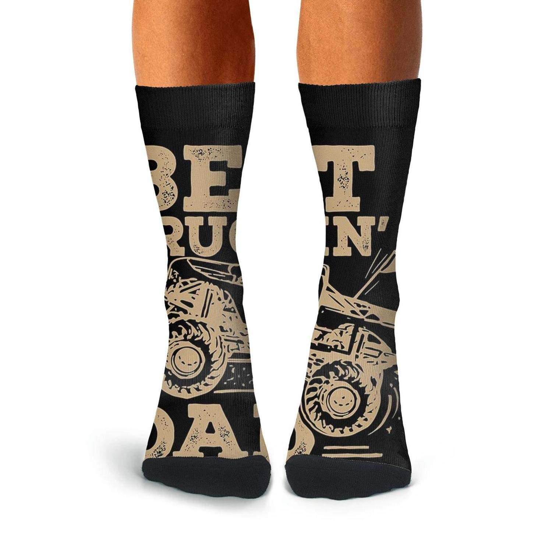 KCOSSH Best Truckin Dad Ever Crazy Crew Sock Athletic Calf Socks for Men