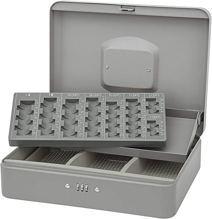 Caja de caudales con portamonedas gris con Cierre de código ...