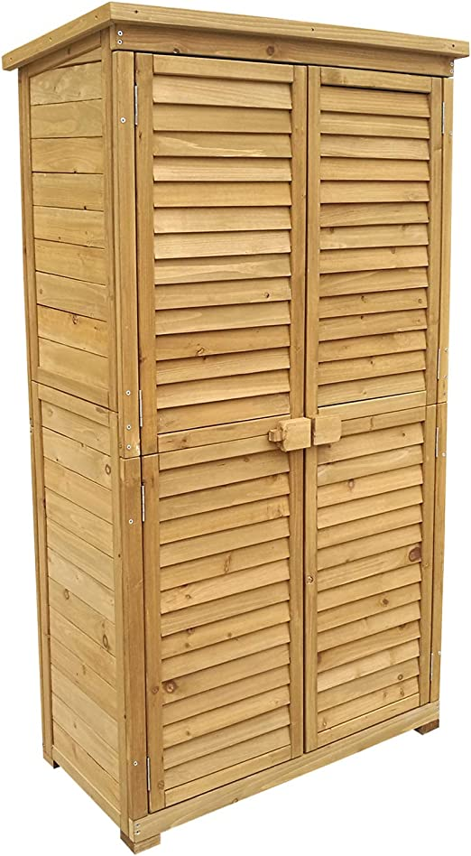 Caseta de jardín 870x465x1600mm con puerta laminada, madera de pícea con tejado de betún, cobertizo: Amazon.es: Bricolaje y herramientas