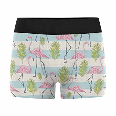 InterestPrint Boxer Briefs Men's Underwear Pink Flamingo Birds Chevron (XS-3XL)