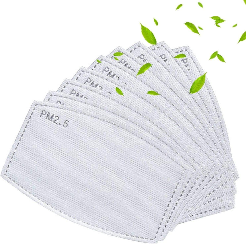 Gecter PM2.5 Filtros de carbón activado 5 capas reemplazables de papel de filtro antiniebla anti niebla papel para adultos (50 unidades)